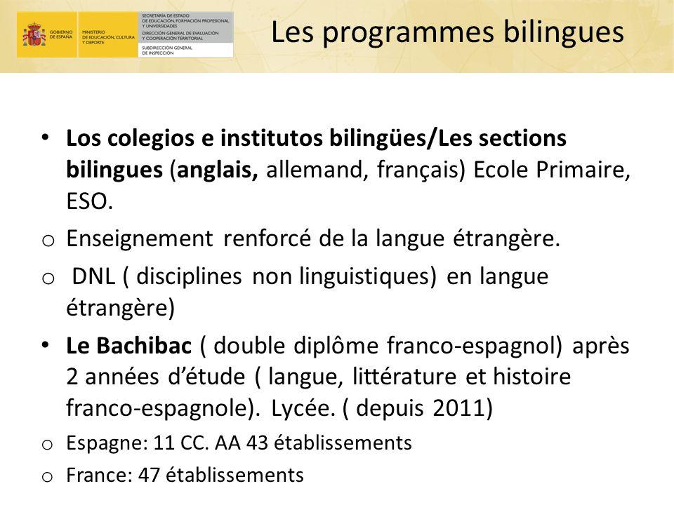 Les programmes bilingues Los colegios e institutos bilingües/Les sections bilingues (anglais, allemand, français) Ecole Primaire, ESO. o Enseignement