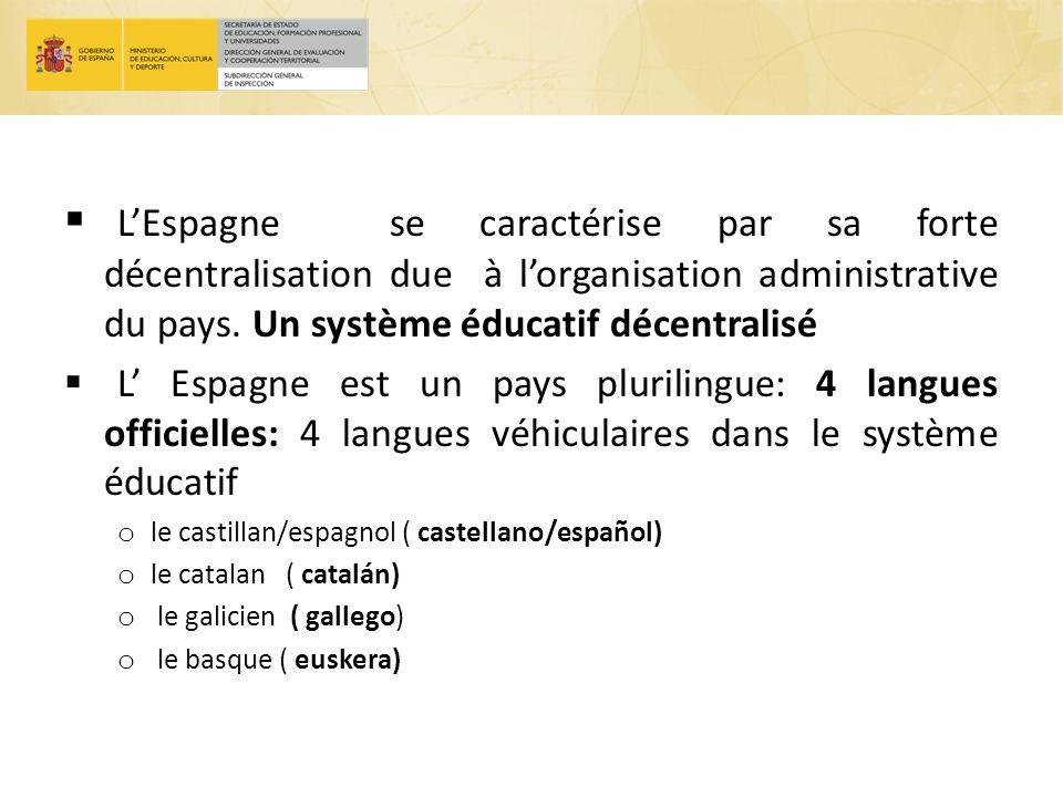 LEspagne se caractérise par sa forte décentralisation due à lorganisation administrative du pays. Un système éducatif décentralisé L Espagne est un pa