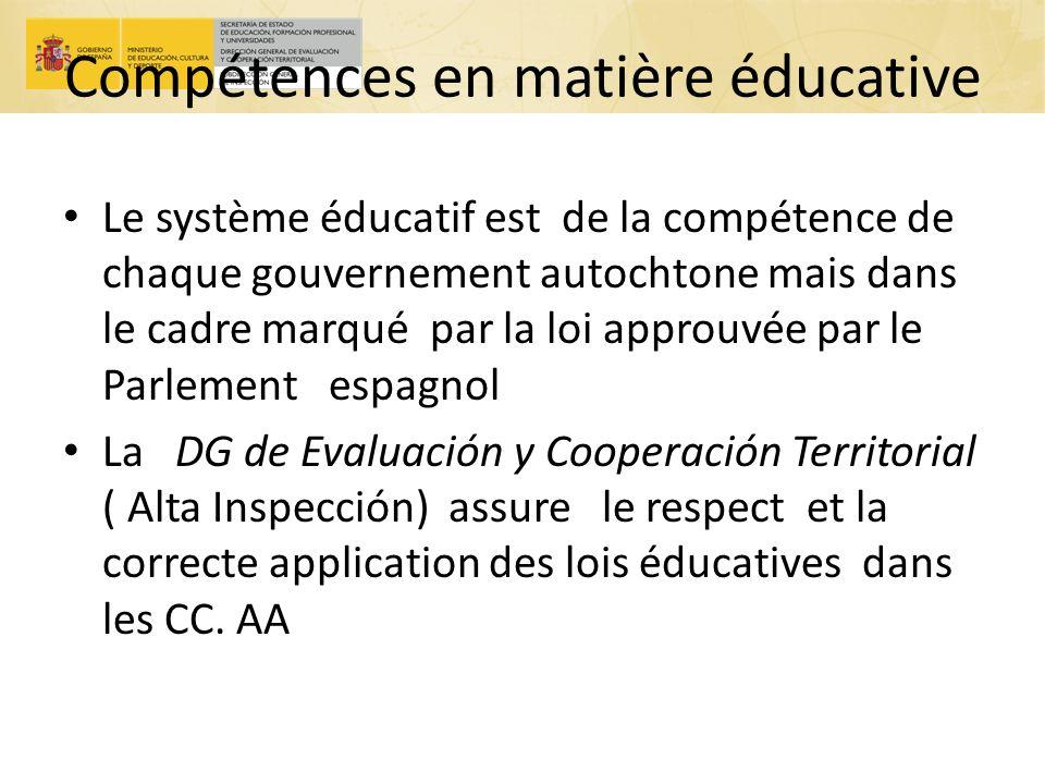 Compétences en matière éducative Le système éducatif est de la compétence de chaque gouvernement autochtone mais dans le cadre marqué par la loi appro