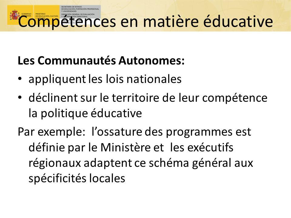 Compétences en matière éducative Les Communautés Autonomes: appliquent les lois nationales déclinent sur le territoire de leur compétence la politique