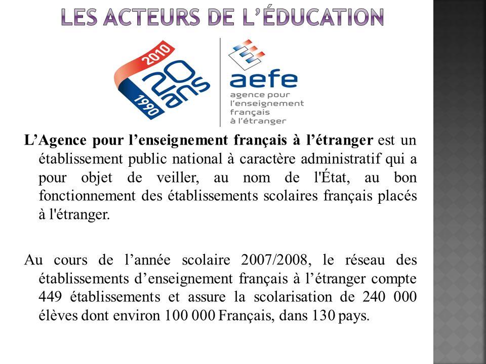 LAgence pour lenseignement français à létranger est un établissement public national à caractère administratif qui a pour objet de veiller, au nom de