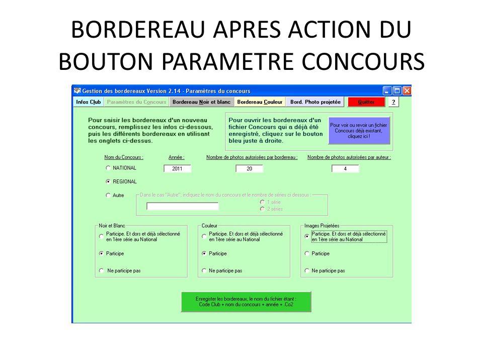 BORDEREAU APRES ACTION DU BOUTON PARAMETRE CONCOURS