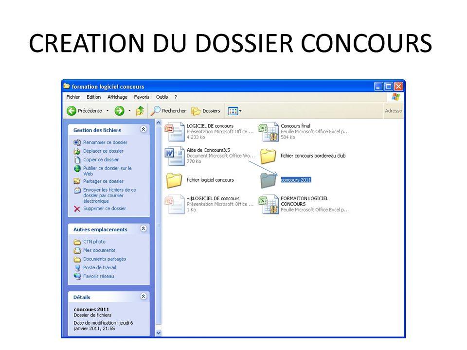 CREATION DU DOSSIER CONCOURS