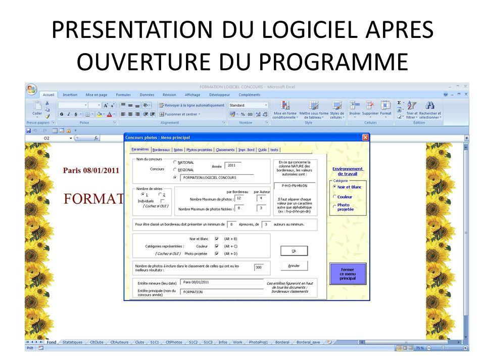 PRESENTATION DU LOGICIEL APRES OUVERTURE DU PROGRAMME