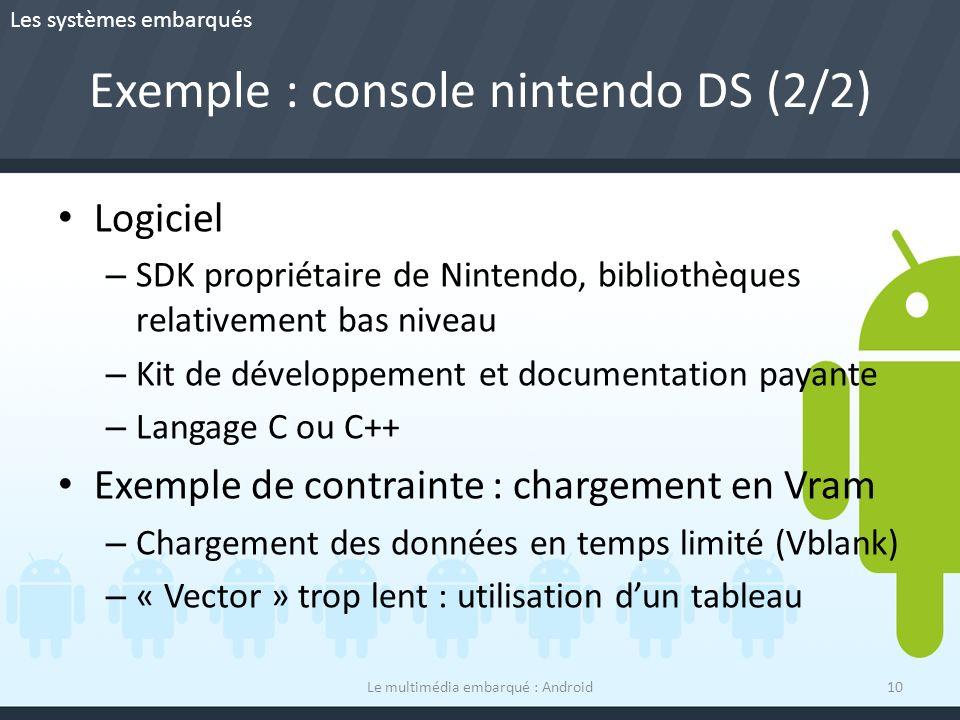 Exemple : console nintendo DS (2/2) Logiciel – SDK propriétaire de Nintendo, bibliothèques relativement bas niveau – Kit de développement et documenta