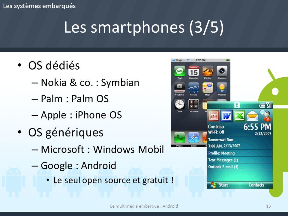 Les smartphones (3/5) OS dédiés – Nokia & co. : Symbian – Palm : Palm OS – Apple : iPhone OS OS génériques – Microsoft : Windows Mobil – Google : Andr