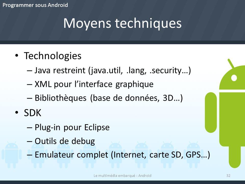 Moyens techniques Le multimédia embarqué : Android32 Technologies – Java restreint (java.util,.lang,.security…) – XML pour linterface graphique – Bibl
