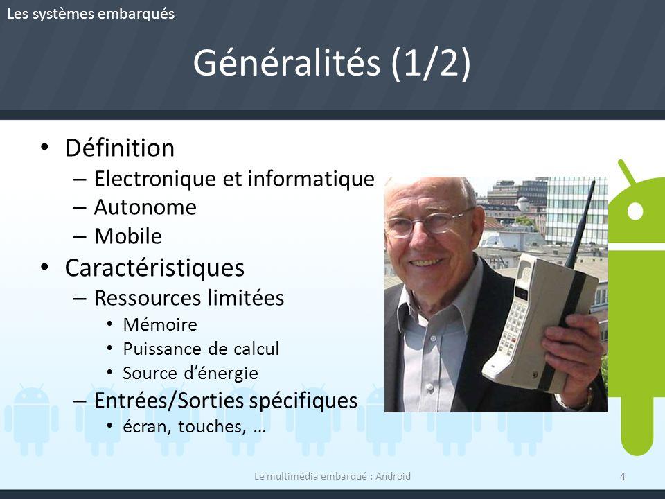Généralités (1/2) Définition – Electronique et informatique – Autonome – Mobile Caractéristiques – Ressources limitées Mémoire Puissance de calcul Sou