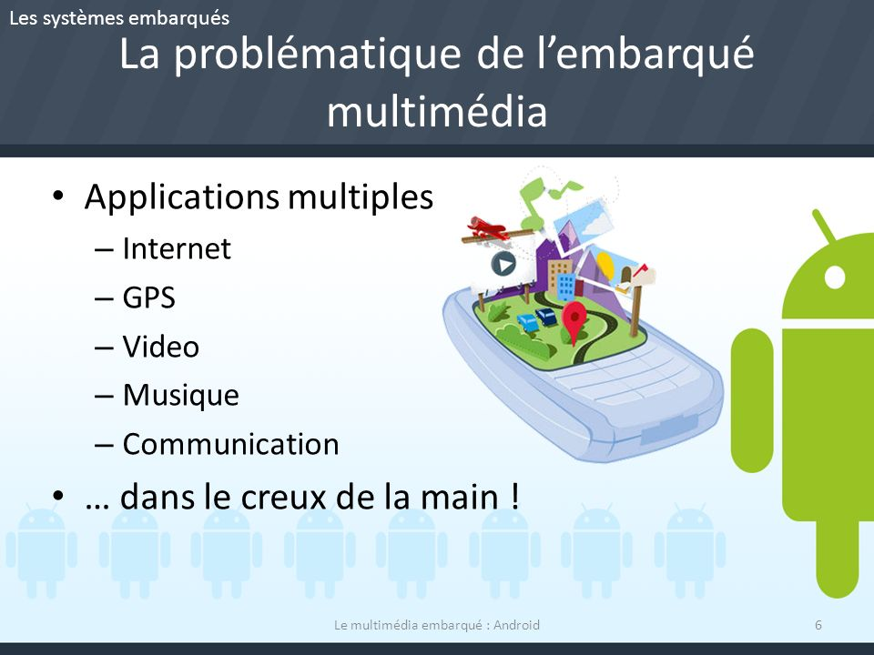La problématique de lembarqué multimédia Applications multiples – Internet – GPS – Video – Musique – Communication … dans le creux de la main .