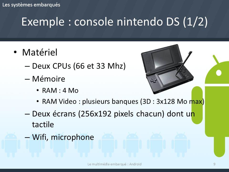 Exemple : console nintendo DS (1/2) Matériel – Deux CPUs (66 et 33 Mhz) – Mémoire RAM : 4 Mo RAM Video : plusieurs banques (3D : 3x128 Mo max) – Deux