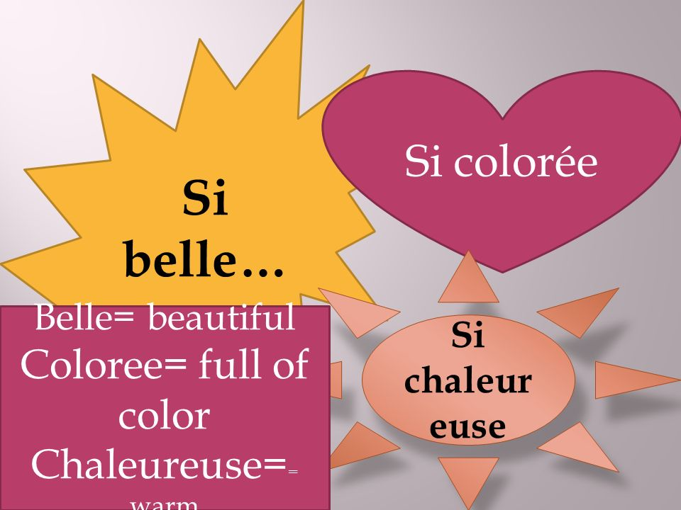 Si belle… Si colorée Si chaleur euse Belle= beautiful Coloree= full of color Chaleureuse= = warm