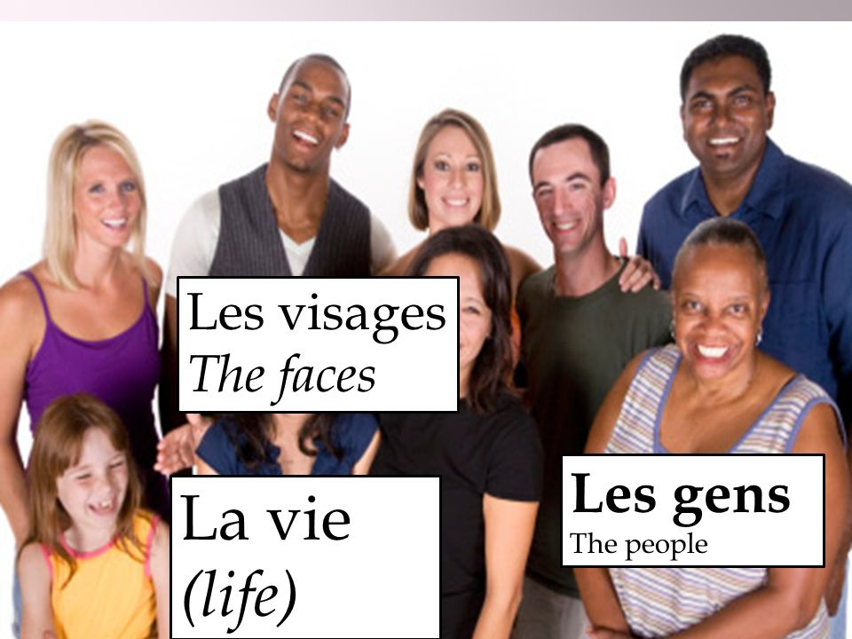 Les visages The faces Les gens The people La vie (life)