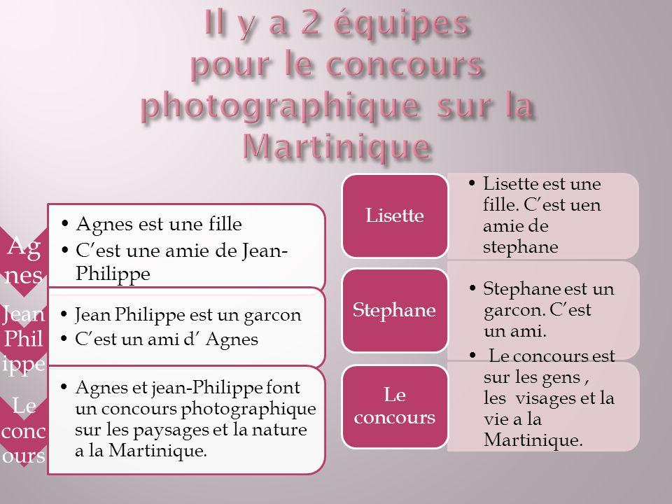 Ag nes Agnes est une fille Cest une amie de Jean- Philippe Jean Phil ippe Jean Philippe est un garcon Cest un ami d Agnes Le conc ours Agnes et jean-Philippe font un concours photographique sur les paysages et la nature a la Martinique.
