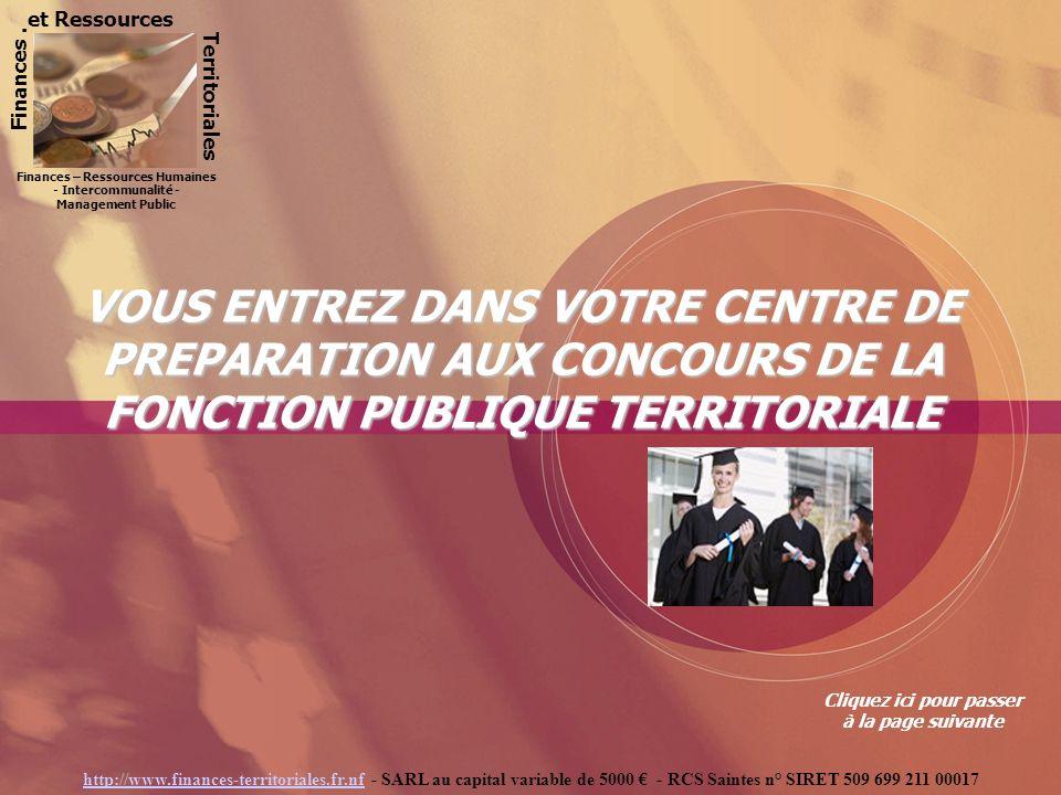 Finances. Territoriales Finances et Ressources Territoriales: Préparation aux concours de la Fonction Publique TerritorialeFinances Territoriales : Fo