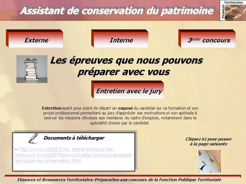 Finances. Territoriales Finances et Ressources Territoriales: Préparation aux concours de la Fonction Publique Territoriale Assistant de conservation