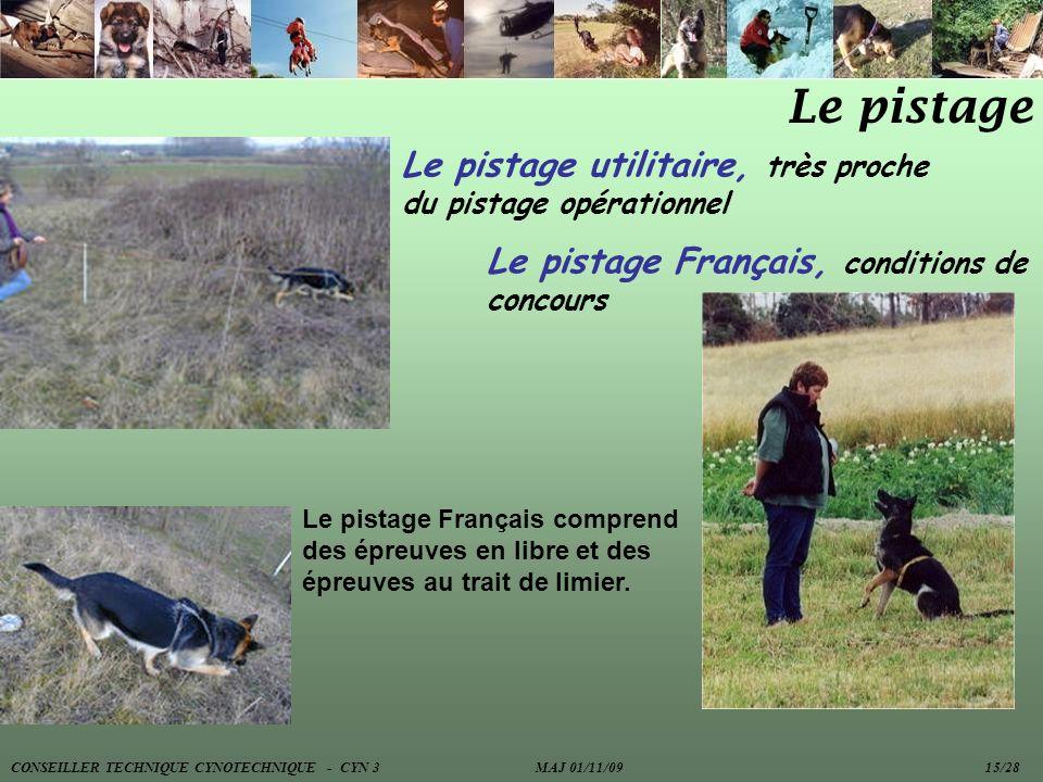 Le pistage Le pistage utilitaire, très proche du pistage opérationnel Le pistage Français comprend des épreuves en libre et des épreuves au trait de l