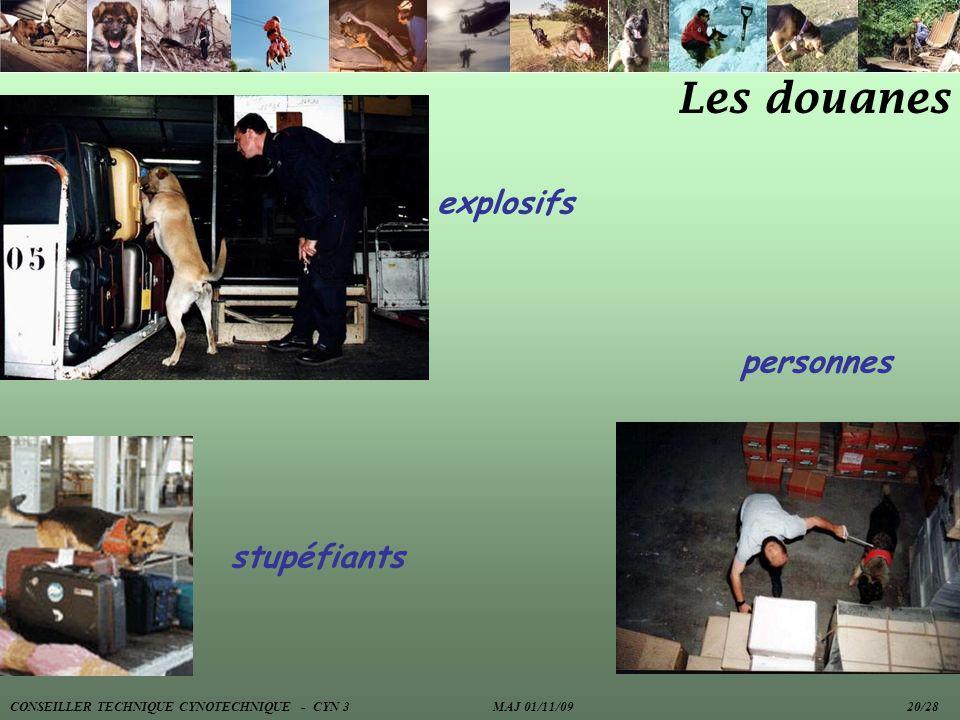 Les douanes explosifs stupéfiants personnes CONSEILLER TECHNIQUE CYNOTECHNIQUE - CYN 3 MAJ 01/11/09 20/28