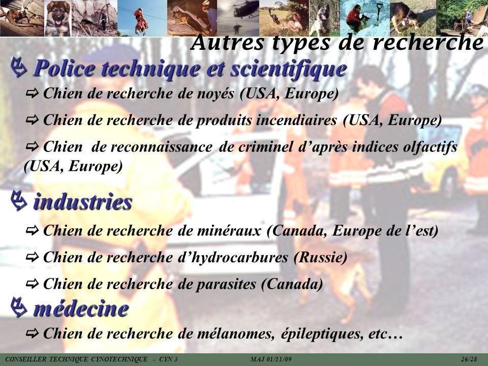 Police technique et scientifique Police technique et scientifique Chien de recherche de noyés (USA, Europe) Chien de recherche de produits incendiaire