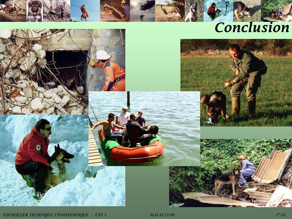 Conclusion CONSEILLER TECHNIQUE CYNOTECHNIQUE - CYN 3 MAJ 01/11/09 27/28