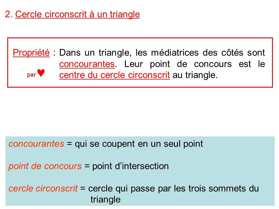 2. Cercle circonscrit à un triangle Propriété :Dans un triangle, les médiatrices des côtés sont concourantes. Leur point de concours est le centre du