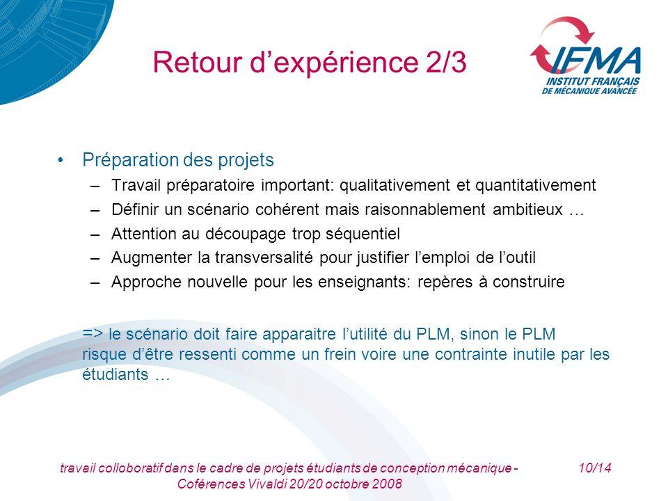 travail colloboratif dans le cadre de projets étudiants de conception mécanique - Coférences Vivaldi 20/20 octobre 2008 10/14 Retour dexpérience 2/3 P