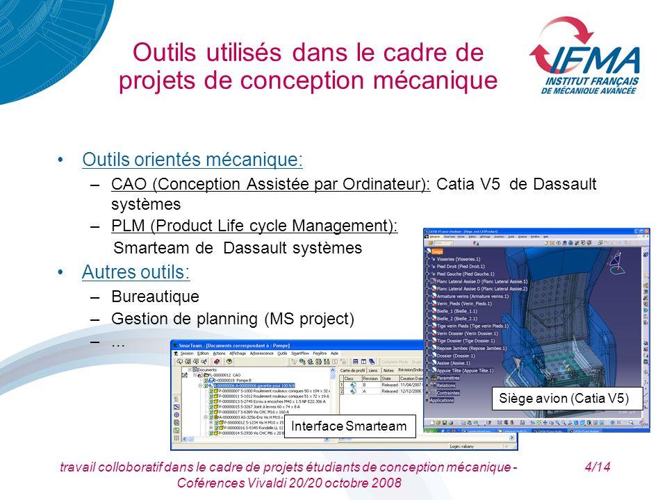 travail colloboratif dans le cadre de projets étudiants de conception mécanique - Coférences Vivaldi 20/20 octobre 2008 4/14 Outils utilisés dans le c