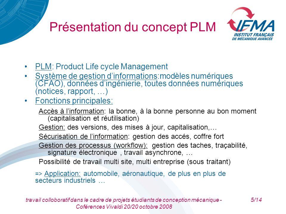 travail colloboratif dans le cadre de projets étudiants de conception mécanique - Coférences Vivaldi 20/20 octobre 2008 6/14 lIFMA utilise le PLM Smarteam et Catia V5 en CFAO Présentation du concept PLM