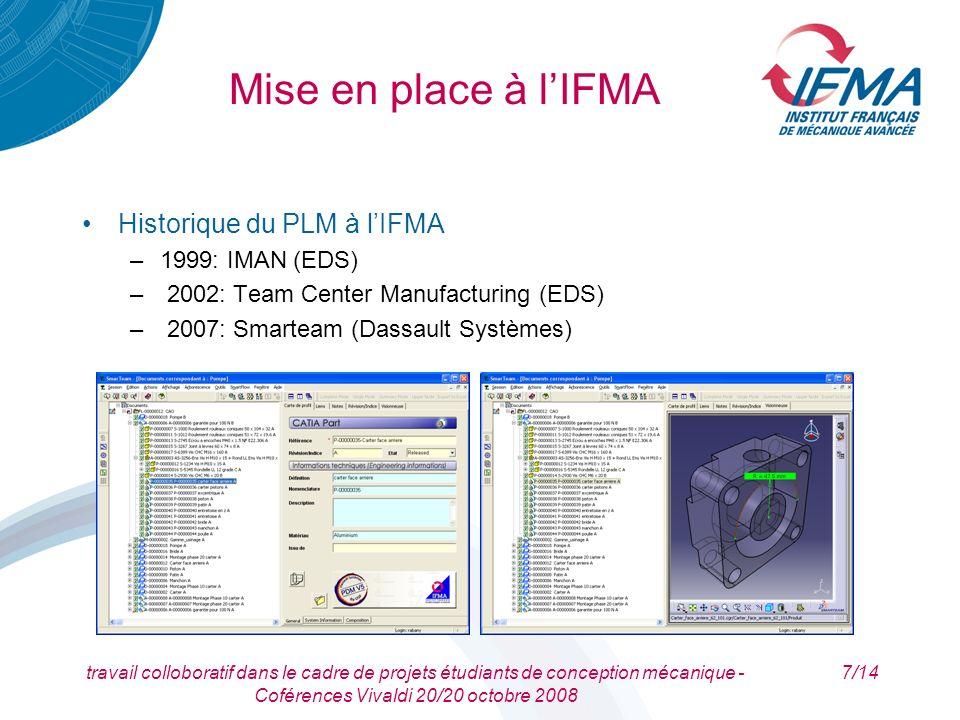 travail colloboratif dans le cadre de projets étudiants de conception mécanique - Coférences Vivaldi 20/20 octobre 2008 7/14 Mise en place à lIFMA His