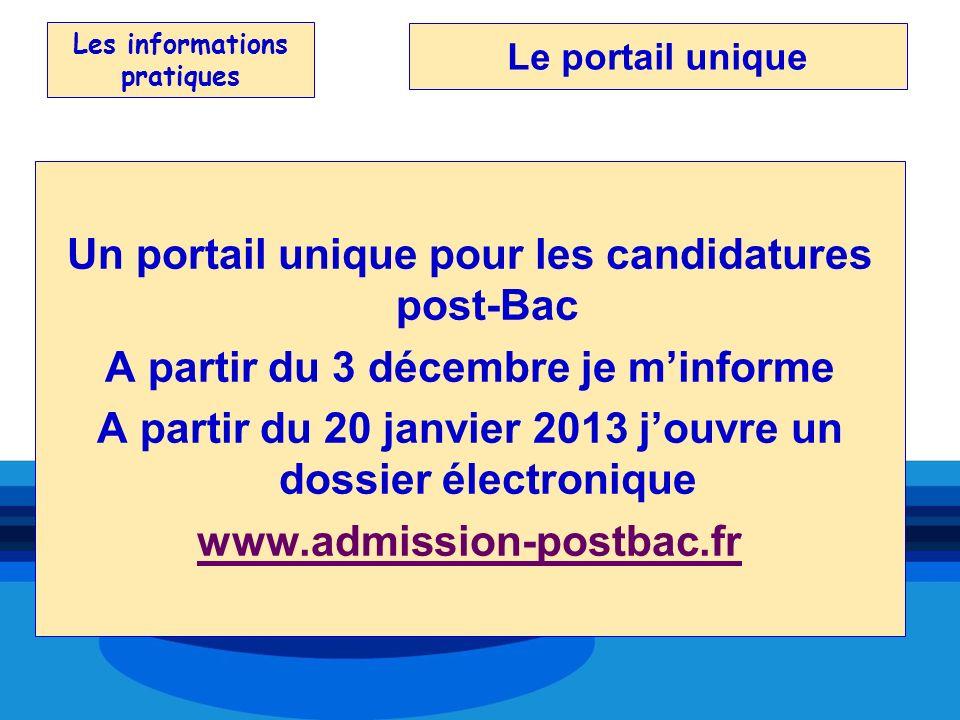 Les informations pratiques Un portail unique pour les candidatures post-Bac A partir du 3 décembre je minforme A partir du 20 janvier 2013 jouvre un d