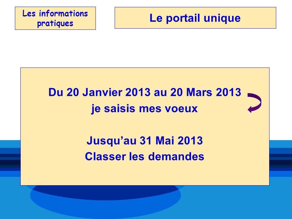 Les informations pratiques Du 20 Janvier 2013 au 20 Mars 2013 je saisis mes voeux Jusquau 31 Mai 2013 Classer les demandes Le portail unique