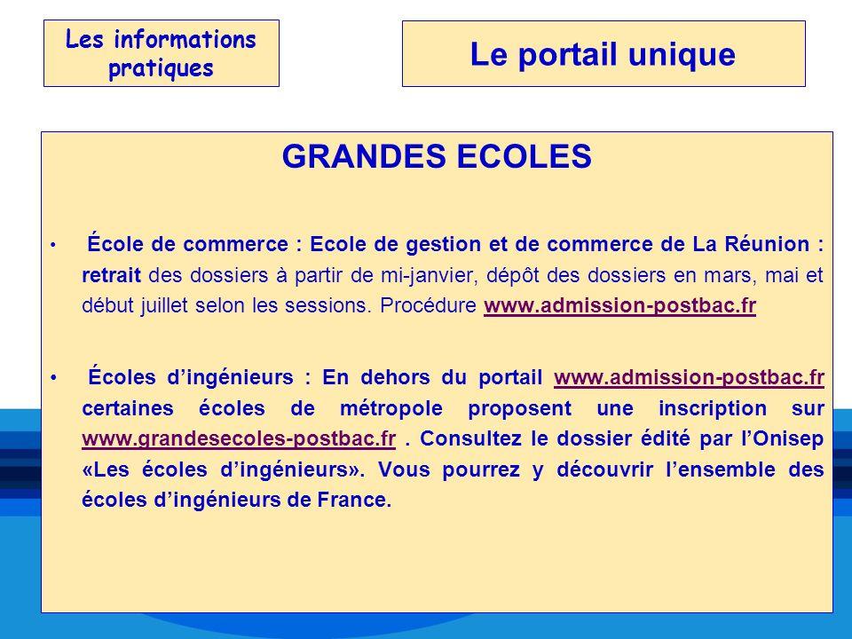 Les informations pratiques GRANDES ECOLES École de commerce : Ecole de gestion et de commerce de La Réunion : retrait des dossiers à partir de mi-janv