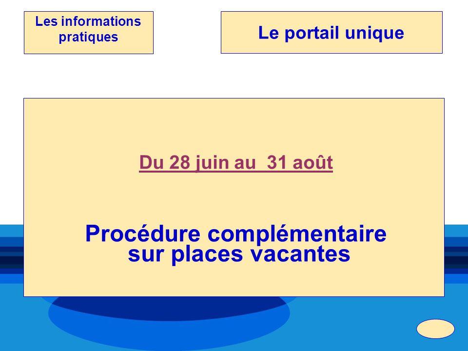 Du 28 juin au 31 août Procédure complémentaire sur places vacantes Les informations pratiques Le portail unique