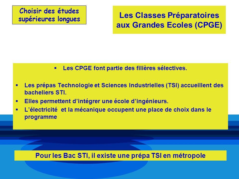 Choisir des études supérieures longues Les CPGE font partie des filières sélectives. Les prépas Technologie et Sciences Industrielles (TSI) accueillen
