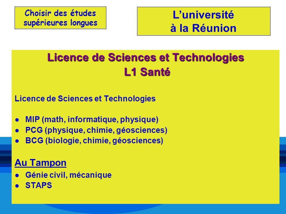 Choisir des études supérieures longues Licence de Sciences et Technologies L1 Santé L1 Santé Licence de Sciences et Technologies MIP (math, informatiq
