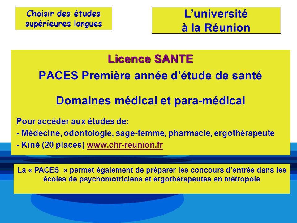 Choisir des études supérieures longues Licence SANTE PACES Première année détude de santé Domaines médical et para-médical Pour accéder aux études de: