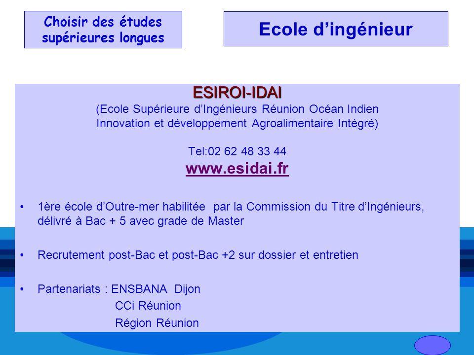 Choisir des études supérieures longues ESIROI-IDAI (Ecole Supérieure dIngénieurs Réunion Océan Indien Innovation et développement Agroalimentaire Inté