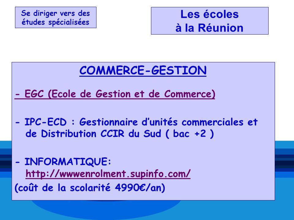 Se diriger vers des études spécialisées Les écoles à la Réunion COMMERCE-GESTION - EGC (Ecole de Gestion et de Commerce) - IPC-ECD : Gestionnaire duni