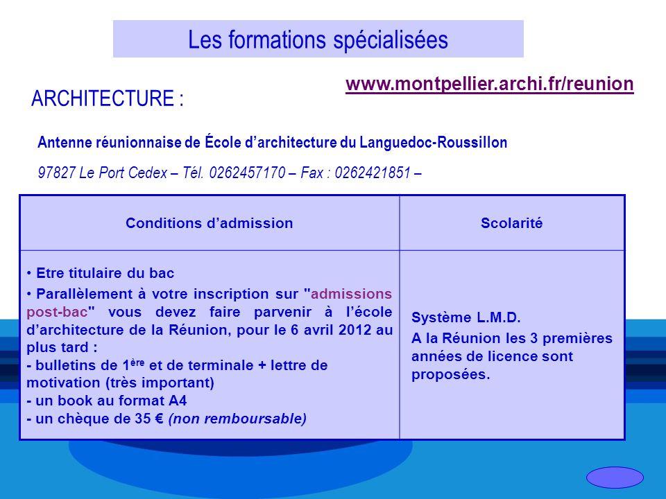 Les formations spécialisées ARCHITECTURE : Antenne réunionnaise de École darchitecture du Languedoc-Roussillon 97827 Le Port Cedex – Tél. 0262457170 –