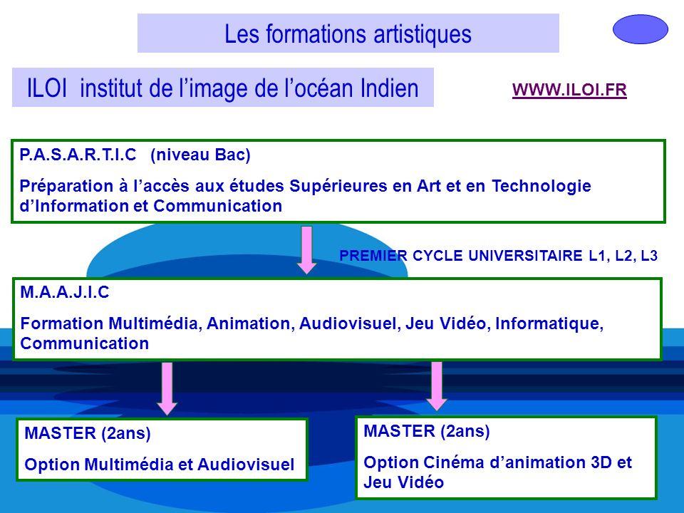 Les formations artistiques ILOI institut de limage de locéan Indien WWW.ILOI.FR P.A.S.A.R.T.I.C (niveau Bac) Préparation à laccès aux études Supérieur