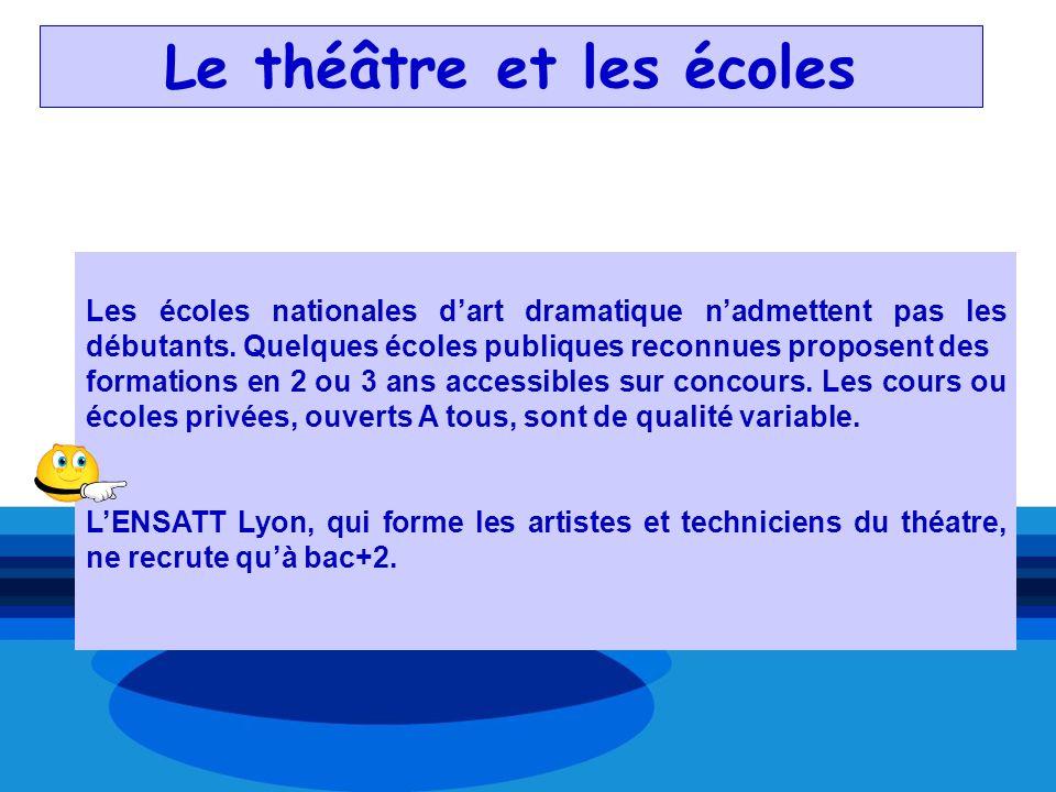 Le théâtre et les écoles Les écoles nationales dart dramatique nadmettent pas les débutants. Quelques écoles publiques reconnues proposent des formati