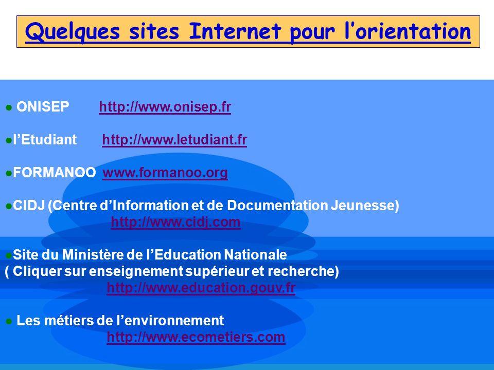 Quelques sites Internet pour lorientation ONISEP http://www.onisep.frhttp://www.onisep.fr lEtudiant http://www.letudiant.frhttp://www.letudiant.fr FOR