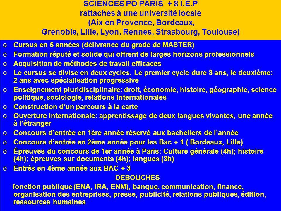 SCIENCES PO PARIS + 8 I.E.P rattachés à une université locale (Aix en Provence, Bordeaux, Grenoble, Lille, Lyon, Rennes, Strasbourg, Toulouse) oCursus