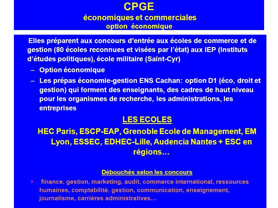 CPGE économiques et commerciales option économique Elles préparent aux concours d'entrée aux écoles de commerce et de gestion (80 écoles reconnues et