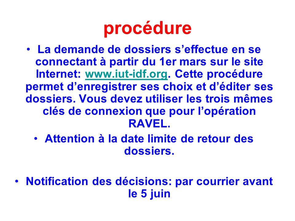 procédure La demande de dossiers seffectue en se connectant à partir du 1er mars sur le site Internet: www.iut-idf.org. Cette procédure permet denregi