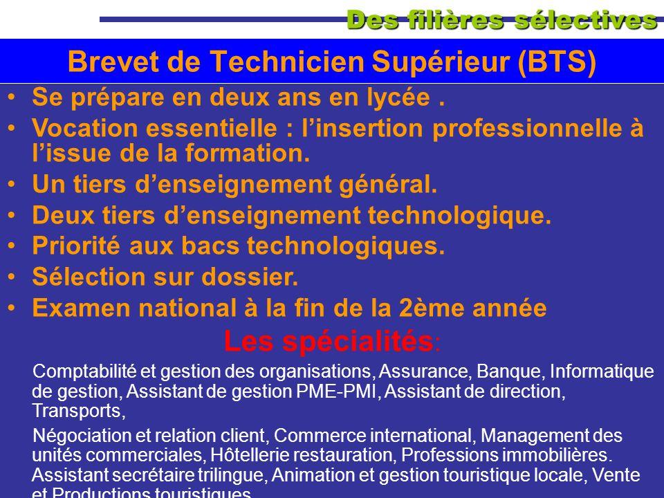 Des filières sélectives Brevet de Technicien Supérieur (BTS) Se prépare en deux ans en lycée. Vocation essentielle : linsertion professionnelle à liss
