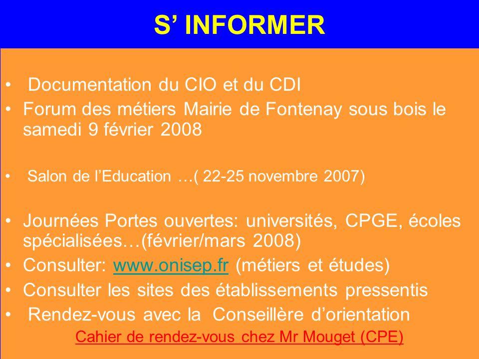 S INFORMER Documentation du CIO et du CDI Forum des métiers Mairie de Fontenay sous bois le samedi 9 février 2008 Salon de lEducation …( 22-25 novembr