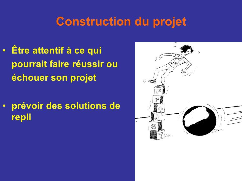 Être attentif à ce qui pourrait faire réussir ou échouer son projet prévoir des solutions de repli Construction du projet