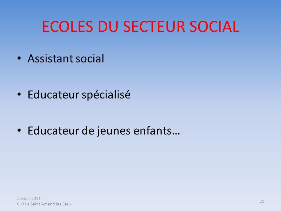 Janvier 2011 CIO de Saint Amand les Eaux 21 ECOLES DU SECTEUR SOCIAL Assistant social Educateur spécialisé Educateur de jeunes enfants…