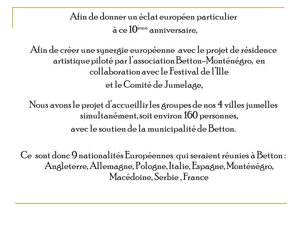 Afin de donner un éclat européen particulier à ce 10 ème anniversaire, Afin de créer une synergie européenne avec le projet de résidence artistique pi
