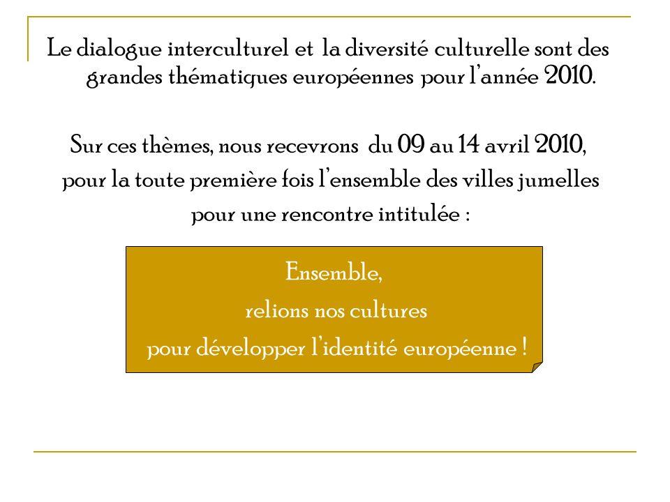 Le dialogue interculturel et la diversité culturelle sont des grandes thématiques européennes pour lannée 2010. Sur ces thèmes, nous recevrons du 09 a